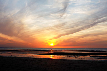 Sunset, beach, Villers sur Mer, Calvados, Basse Normandie, France.