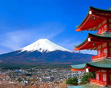 Fujiyoshida and Mount Fuji, Japan