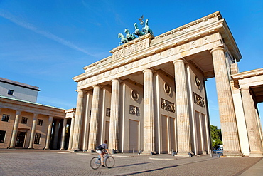 Brandenburg gate, bicycle in the morning, Berlin