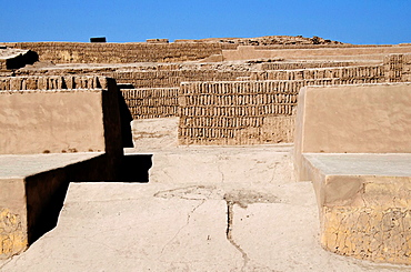 Huaca Pucllana. Lima culture 200 AD and 700 AD. Miraflores district. Lima city. Peru.Archaeological site.