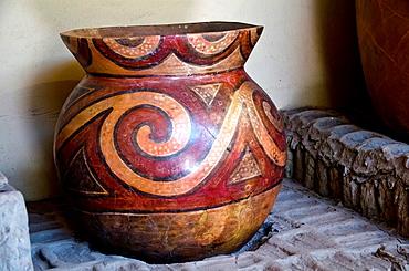 Ceramic pots of culture Lima 200 AD-700 AD.Huaca Pucllana. Miraflores district. Lima city. Peru.Archaeological site.