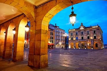 Main Square and Town Hall. Plaza Mayor, Gijon, Asturias, Spain.