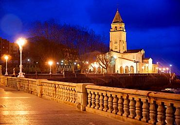 San Pedro Church, San Lorenzo beach, Gijon, Asturias, Spain.