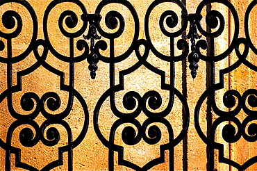 Iron work on a 19th century balcony at Bordeaux, Gironde, Aquitaine, France