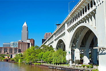 Cuyahoga River At Settlers Landing Park Downtown Skyline Cleveland Ohio USA.