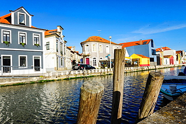 Typical colored houses, San Roque channel, os Botiroes, Aveiro, Beira Litoral, Portugal, Europe