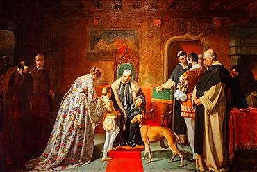 The presentation of Don Juan of Austria to Charles V, oil on canvas, Benito Mercado, 1862, Monastery of San Jeronimo de Yuste, XV century, region of the Vera, Caceres, Extremadura, Spain, europe.