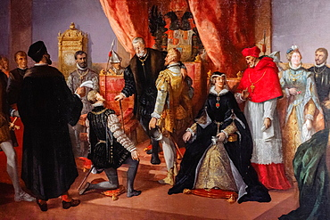 The abdication of Charles V in Brussels, oil on canvas, Francisco de Paula Van Halen, 1874, Monastery of San Jeronimo de Yuste, XV century, region of the Vera, Caceres, Extremadura, Spain, europe.