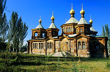 Karakol, Orthodox Church, Kyrgyzstan, A Russian Orthodox Church made from wood and corrugated iron completed in 1895 and used as a club during Soviet times.