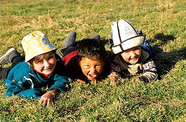 Kids in the Meadow, Mountain, Kyrgyzstan.