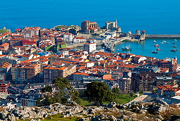 Aerial view of Castro Urdiales. Cantabria. Spain. Europe.