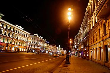 Nevsky Prospekt at night, St. Petersurg, Russia