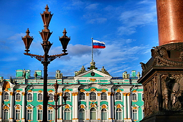 Russian state flag on Winter Palace, St.Petersburg, Russia