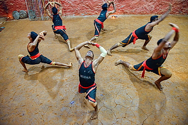 traditional kallaripayattu martial arts practicioners in Kerala, India.