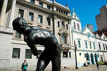 Sao Paulo, Brazil, Largo de Sao Francisco, with the Faculdade de Direito on the left and the Igreja de Sao Francisco de Assis on the right