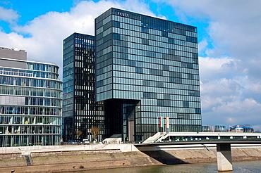 Hyatt hotel and other buildings Hafen district Dusseldorf city North Rhine Westphalia region western Germany Europe.