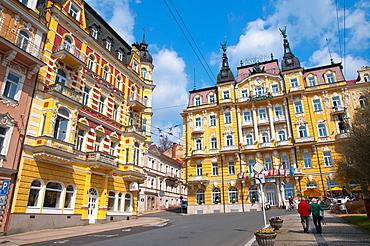 Grand Hotel Pacific at the end of Hlavni trida street central Marianske Lazne aka Marienbad sCzech Republic Europe.