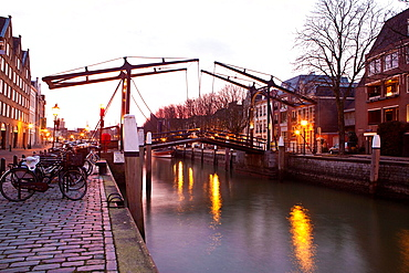 Drawbridge In The Old City Of Dordrecht, Netherlands.