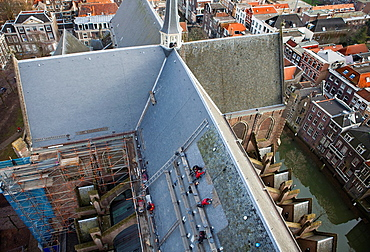 Renovation Of The Roof Of The 'grote Kerk' In Dordrecht, Holland.