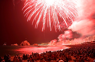 Blanes.contest of fireworks. Costa Brava. Girona province. Catalonia. Spain.