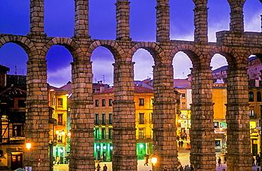 Roman aqueduct, Segovia, Castilla-Leon, Spain.