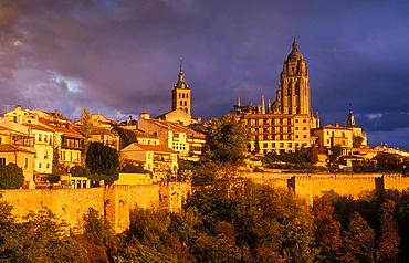 Cathedral, San Andres church and city skyline, Segovia, Castilla-Leon, Spain.