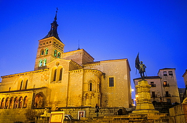 Plaza de Medina del Campo, with monument to Juan Bravo and San Martin church, Segovia, Castilla-Leon, Spain.