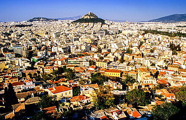 Athens as Seen from the Acropolis, Athens, Greece, Europe.