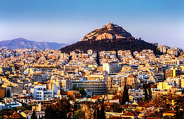 Athens as Seen from the Acropolis. In background Likavitos Hill, Athens, Greece, Europe.