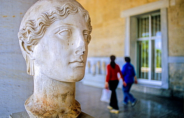 Old head of Nike 2a.c , Agora, Stoa of Attalos now houses the museum of Ancient Agora, Athens, Greece, Europe.