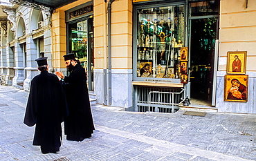 Orthodox priests in A.G Filotheis street, Athens, Greece, Europe.
