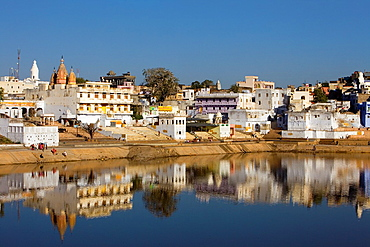 The holy lake and the village of Pushkar,pushkar, Rajasthan, india.