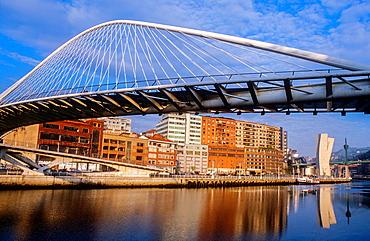 Zubizuri bridge by Santiago Calatrava, Bilbao. Biscay, Euskadi, Spain.