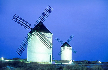Windmills,Mota del Cuervo,Cuenca province,Castilla La Mancha,the route of Don Quixote, Spain.