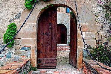 Wooden Door, Vilassar Castle, Vilassar De Dalt, Catalonia, Spain.