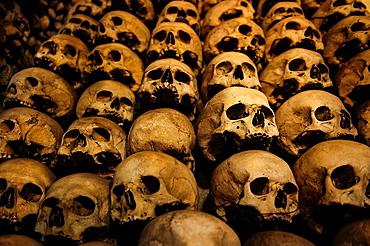 Human Skulls in the wall of the Skull Chapel (Kaplica Czaszek) in Czermna, Poland.
