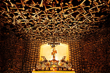 View of the interior of the Skull Chapel in Czermna, Poland.