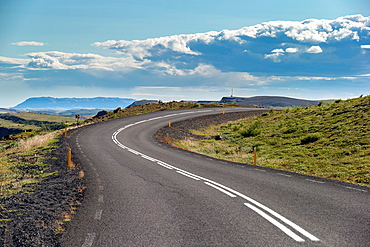 Curvy road, on the way to the waterfall known as Gullfoss, Iceland.