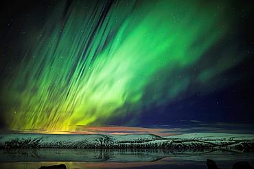Aurora Borealis or Northern lights, Kleifarvatn, Reykjanes Peninsula, Iceland.