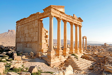 Funerary temple, Dawn over the ancient city of Palmyra, Syria.