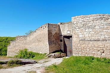 The main gate, Cufut Qale, Chufut-Kale Jewish Fortress Crimea, Ukraine, Eastern Europe.