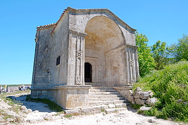 Mausoleum of Dzhanike-Khanym, daughter of Tokhtamys. Cufut Qale, Chufut-Kale Jewish Fortress Crimea, Ukraine, Eastern Europe.