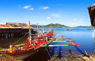 colourful banka at the beach of Coron at Busuanga island, Philipines
