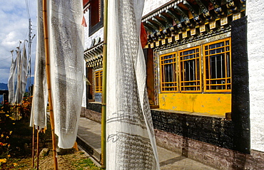 17th century Pemayangtse monastery with praying flags at Sikkim, India