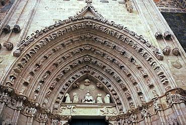 Gothic doorway. Santa Maria la Real de Nieva, Segovia, Spain.