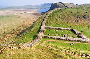 The remains of Milecastle 39, also known as Castle Nick, on Hadrian's Wall at Crag Lough, Northumberland.