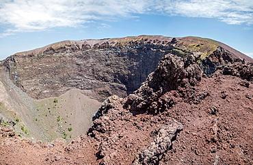 Crater of Mount Vesuvius in Mount Vesuvius National Park, Campania, Italy.