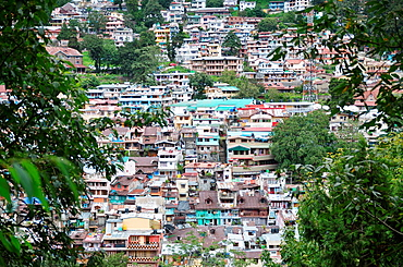 A view to the apartment and houses of Nainital, India.