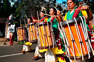 Female drummers, Alleppey, Kerala, India.