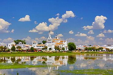 Spain, Andalucia Region, Huelva Province, El Rocio Hermitage near Coto de Donana.